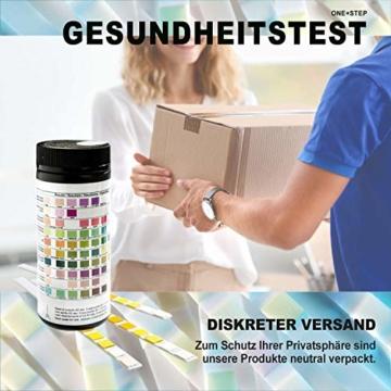 150 Stück One+Step Gesundheitstest für 10 Indikatoren – Urin Teststreifen mit Referenzfarbkarte