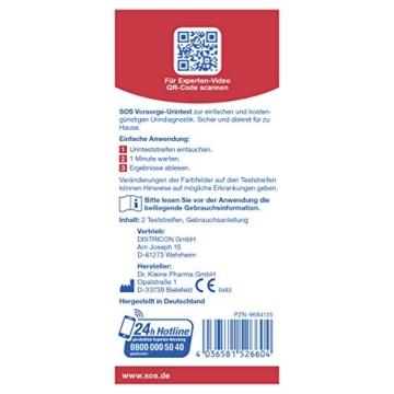 SOS Vorsorge-Urintest (2er Pack) – Zum Nachweis von Zucker, Eiweiß und Blut im Urin (2×2 Teststreifen)
